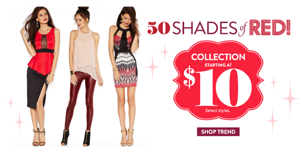 Charlotte-Russe-50-Shades-of-Red Clothing Brands for Teenagers-Top 10 Teens Fashion Brands
