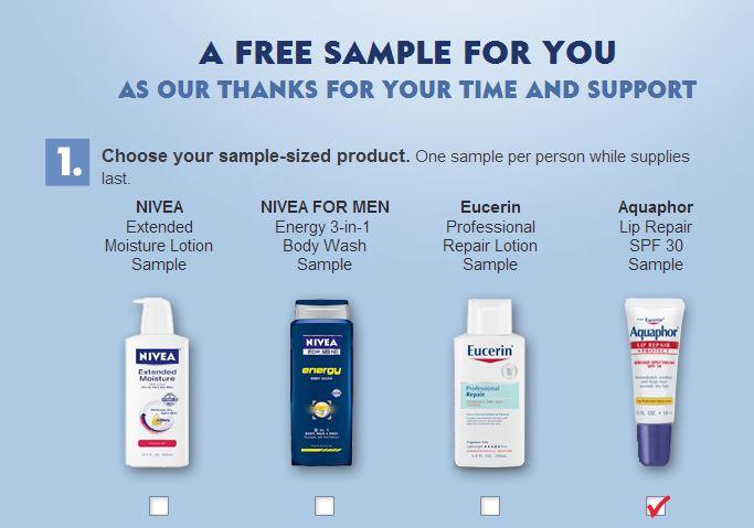 Free sample of aquaphor, eucerin, or nivea products.