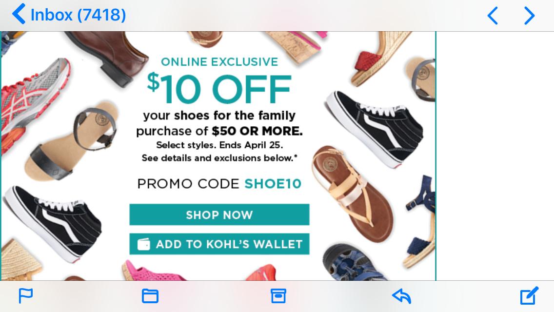 Kohls $10 off $50 online only
